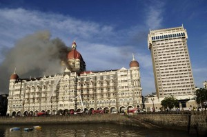 Taj on fire after the attack on 26th November, 2008
